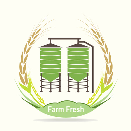 Agricultural Silo and wheat icon vector illustration