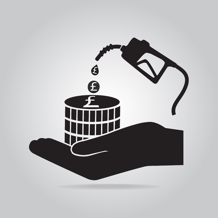 benzine: Gasoline pump in hand icon. Protection or safety concept