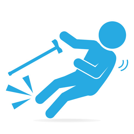 skid: Elderly with stick and slip injury, person injury symbol illustration