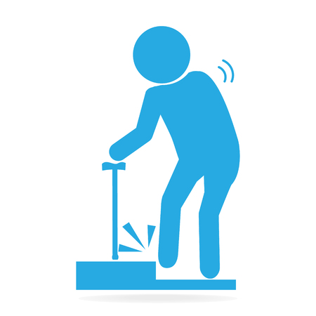 skid: Elderly tripping over on floor, person injury symbol illustration
