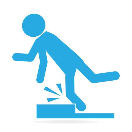 L'uomo inciampare sul pavimento, persona ferita illustrazione simbolo Vettoriali