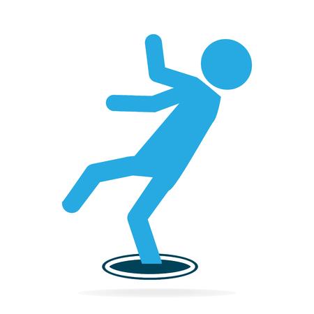 Man falling into hole icon, warning symbol illustration