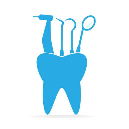 worktool: Dentist tools and tooth icon, dental care icon illustration