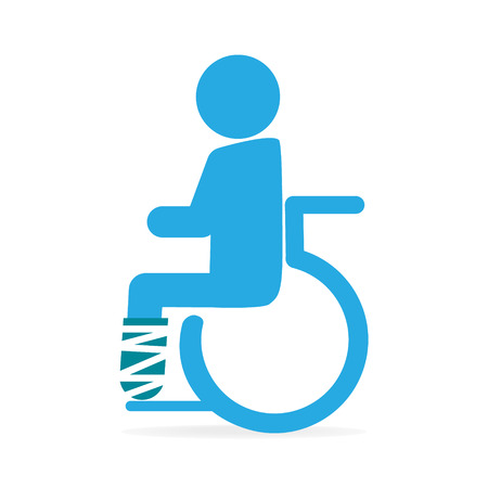 Injury man in bandage and wheelchair icon medical sign icon