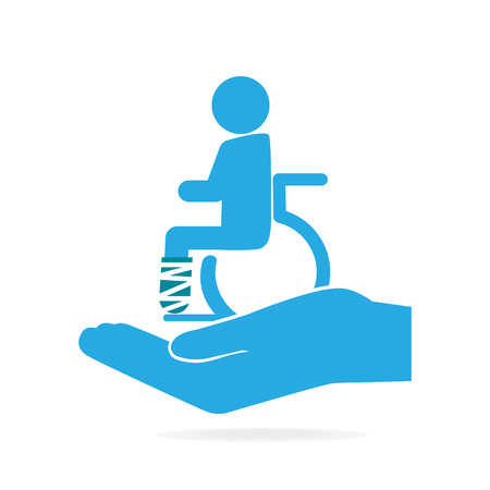 Injury man and bandage in hand icon. Protection or care, medical service, personal accident insurance concept