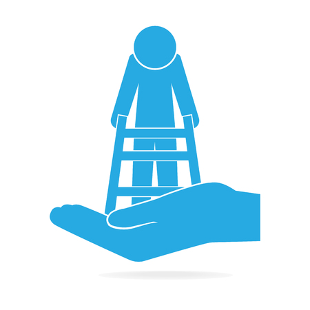 Elderly man and walker in hand icon, care or protection concept Illustration