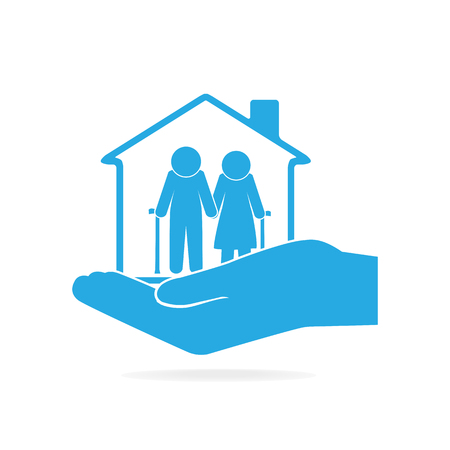 Nursing home for elderly in hand icon, care or protection concept