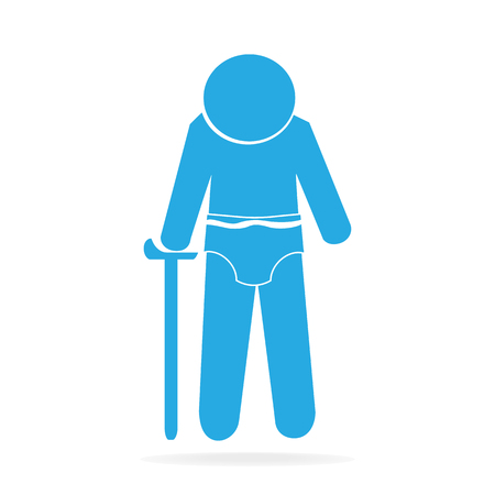 Elderly man and diaper icon vector illustration Illustration