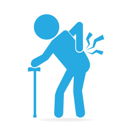 Elderly Man with stick and injury of the back pain icon, Old people sign