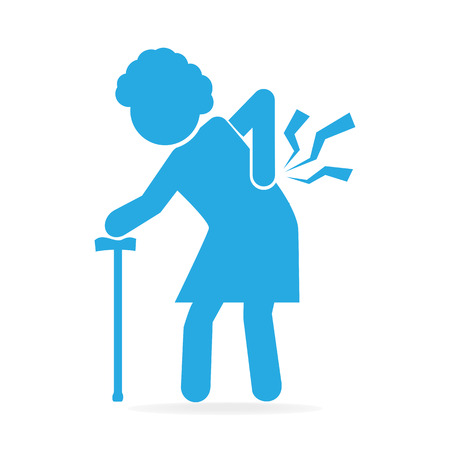 Elderly woman with stick and injury of the back pain icon, Old people icon