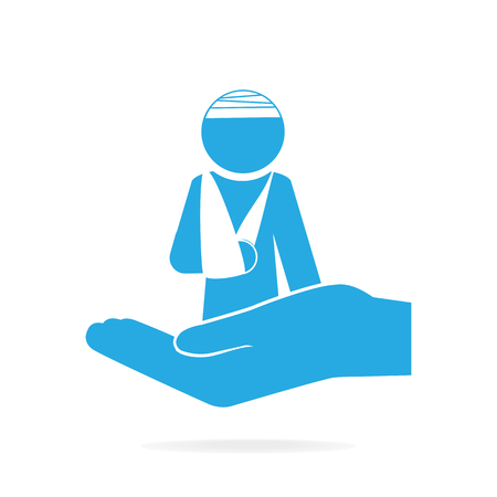 Injury man and bandage in hand icon. Protection or care, medical service, accident insurance concept