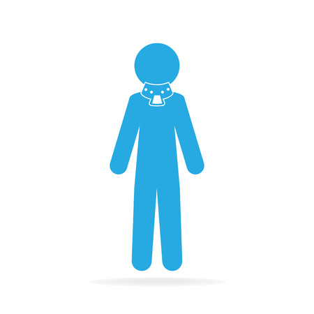 splint: Injured neck and neck splint icon, medical vector illustration
