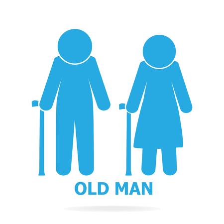 Elderly symbol. old people icon, vector illustration