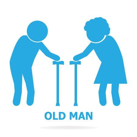Elderly symbol. old people icon, vector illustration