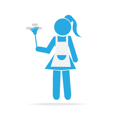 Cleaning icon, Maid with dust brush