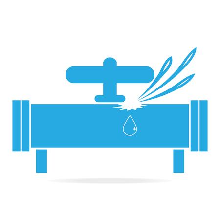 Icono de fuga de agua, icono de tubería Foto de archivo - 70239947