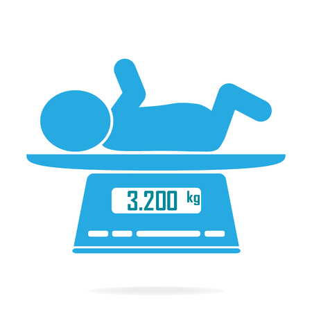 infant: Weight scale for infant icon, Digital scales measure weight in kilograms