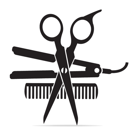Hair salon with scissors, comb icon, curling iron icon