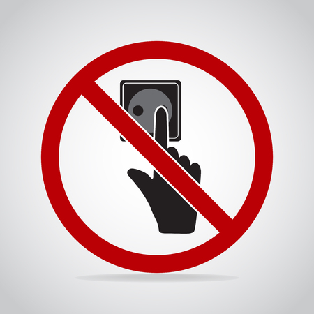Plug Socket and hand icon, Do not touch electrical appliances or switches icon warning sign Illustration