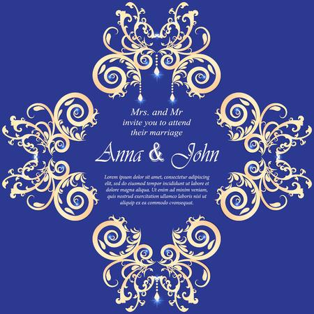 royal wedding: Wedding card, Invitation card with ornamental on Blue background Illustration