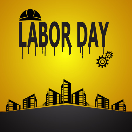 Labour day text and helmet, construction concept vector illustration Illustration