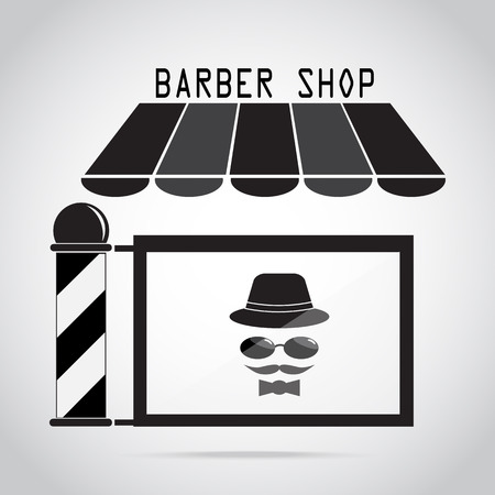 Barber shop, Hair salon with barber pole icon Stock Vector - 79706791