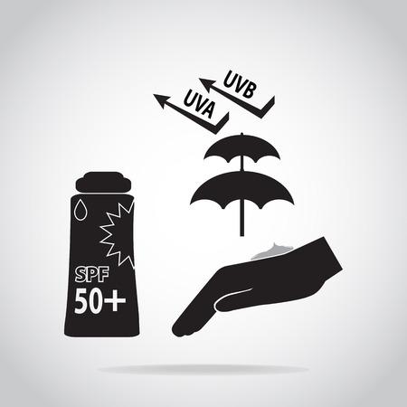 Sunscreen cream in hand icon, sunblock SPF 50, protection skin health concept