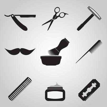Barber shop and Hari salon icon set Illustration