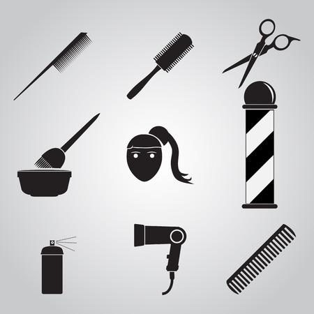 Hair salon icon, Barber shop icon set Illustration