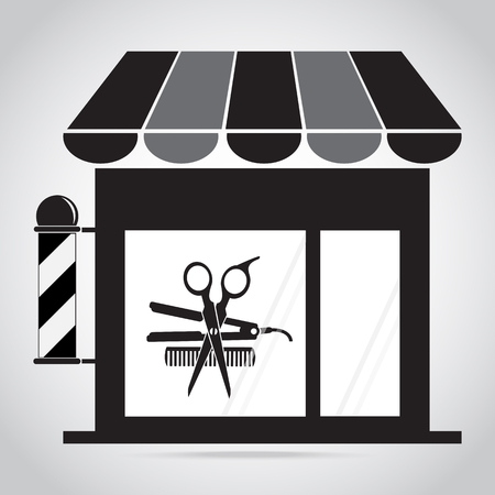 Hair salon, barber shop with barber pole, scissors, comb icon, curling iron icon Illustration