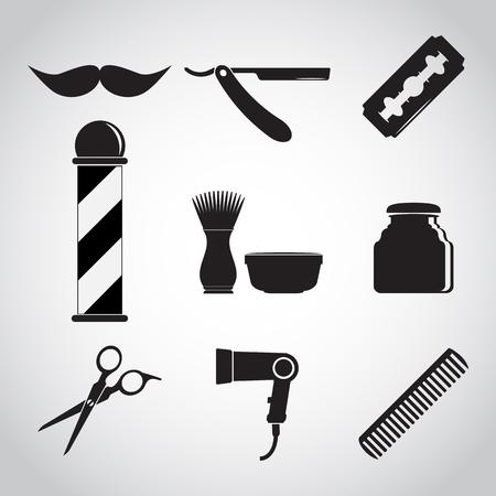 Barber shop and barber pole, Hair salon icon set Illustration