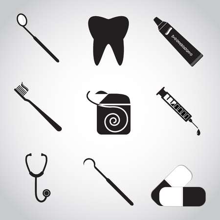 Dental icon set, Tooth, dentist tools, protection tooth hygiene concept Illustration