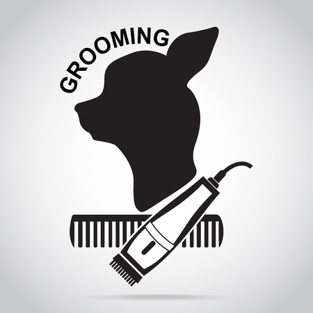 Dog grooming salon icon. Pet beauty salon logo illustration