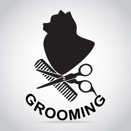Dog grooming salon icon. Pet beauty salon logo illustration