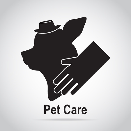 trim: Pet care icon. Dog and glove, Grooming and spa, dog care concept