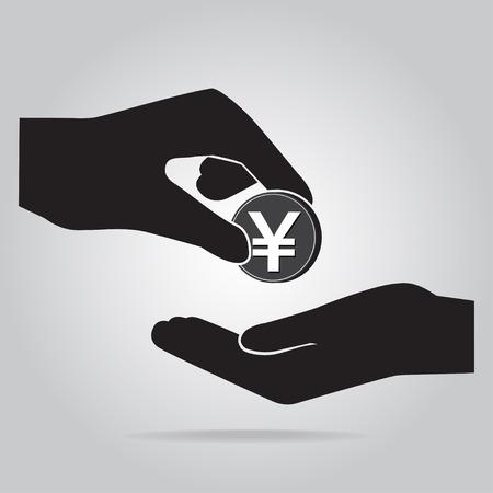 Muntje in de hand icoon. Yen valuta teken. Exchange of Donate concept