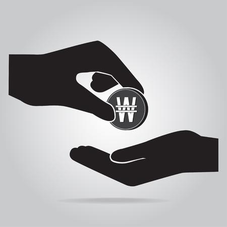 Muntje in de hand icoon. KRW valuta teken. Exchange of Donate concept