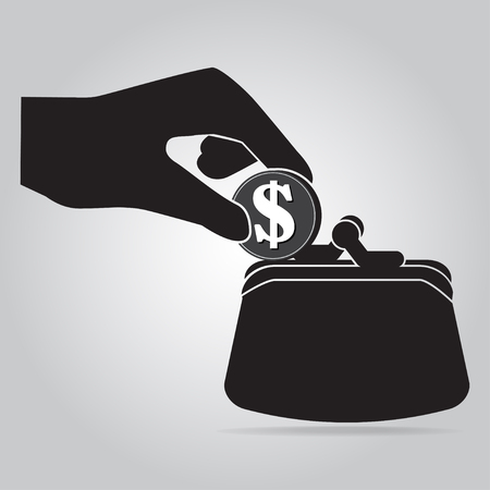 safty: Coin in hand and purse icon. saving money or thief concept