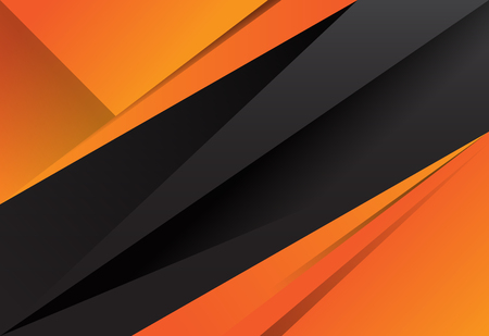 Black and orange abstract layer geometric background Vectores