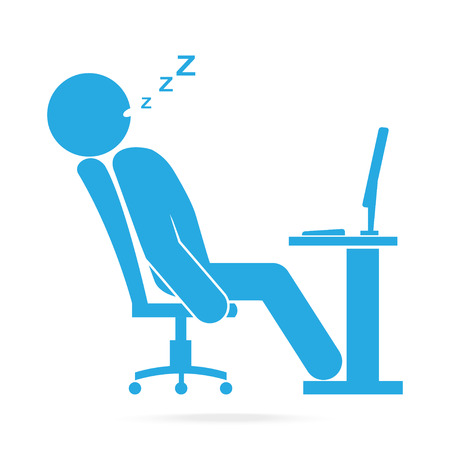 side table: Man sleeping front of computer on work table blue icon.