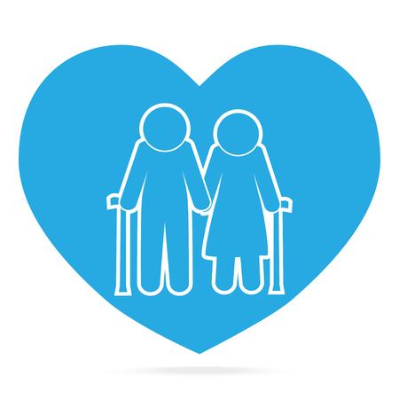 Elderly couple with love symbol.