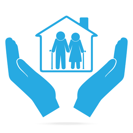Nursing home for elderly in hand blue icon. Çizim