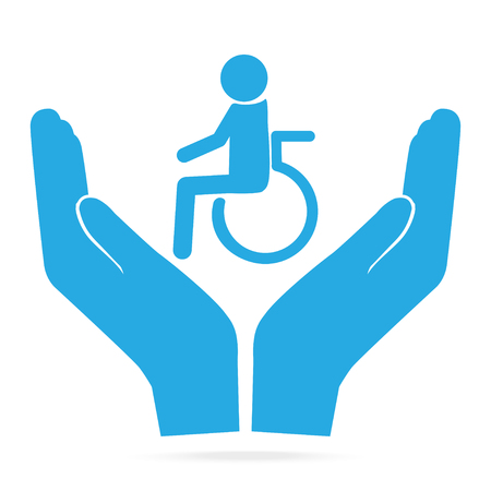 Disabled in hands blue icon. Ilustrace