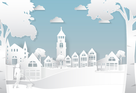 Happiness lifestyle peaceful in the city background, paper art style illustration
