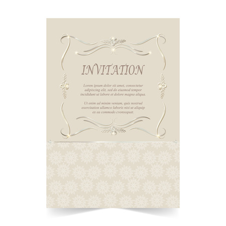 Invitation card, Wedding card with ornament on beige background