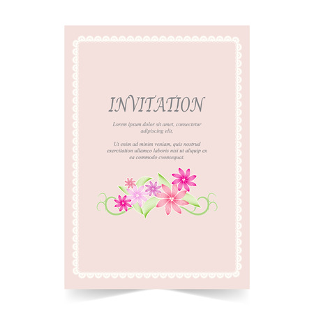 Invitation card, Wedding card with flower  and lace frame on pink background Illustration
