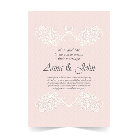 Wedding card, Invitation card with ornamental on pink background Illustration