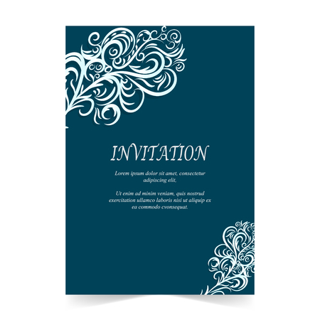 Invitation card, Wedding card with ornament on blue background