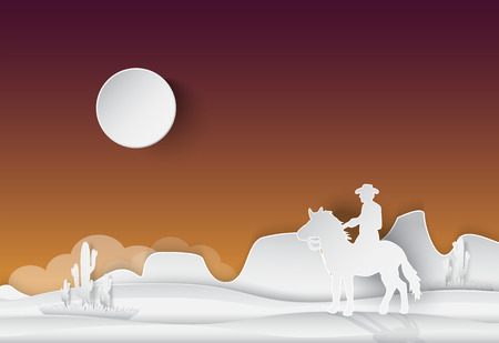 Cowboy and horse, Saguaro Cactus in the desert, nature background, paper art style illustration