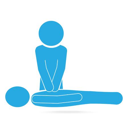 CPR, Cardiopulmonair resuscitatie blauw pictogram. Medisch teken icoon Stock Illustratie